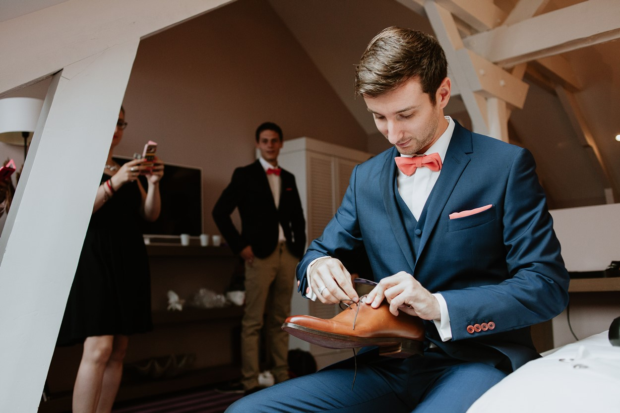 préparation marié chaussure