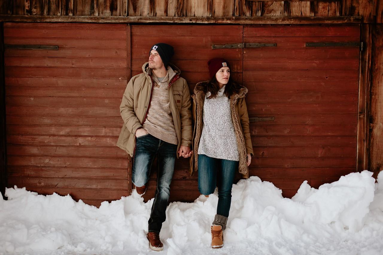 séance couple montagne neige carhartt