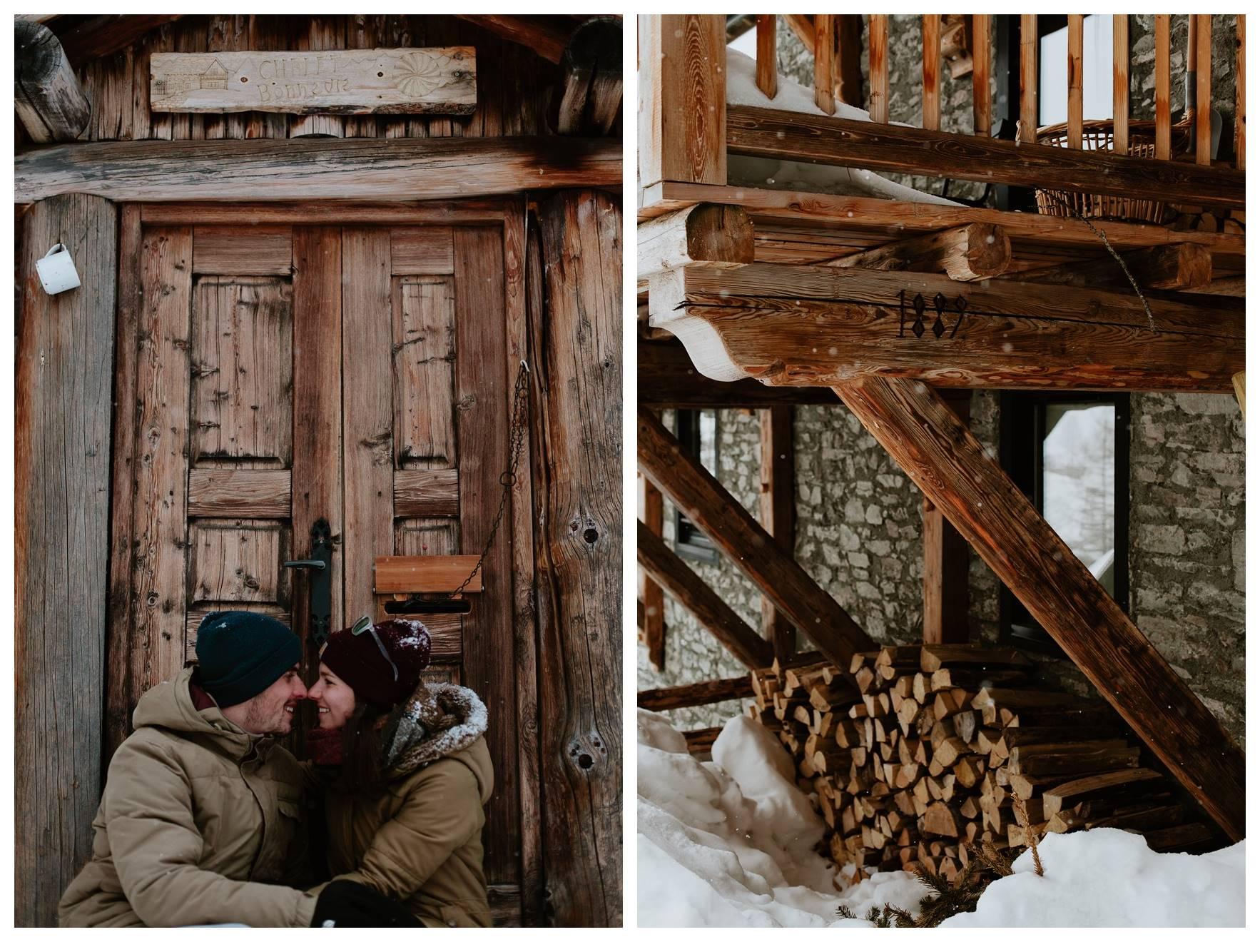 séance couple montagne neige regards ambiance