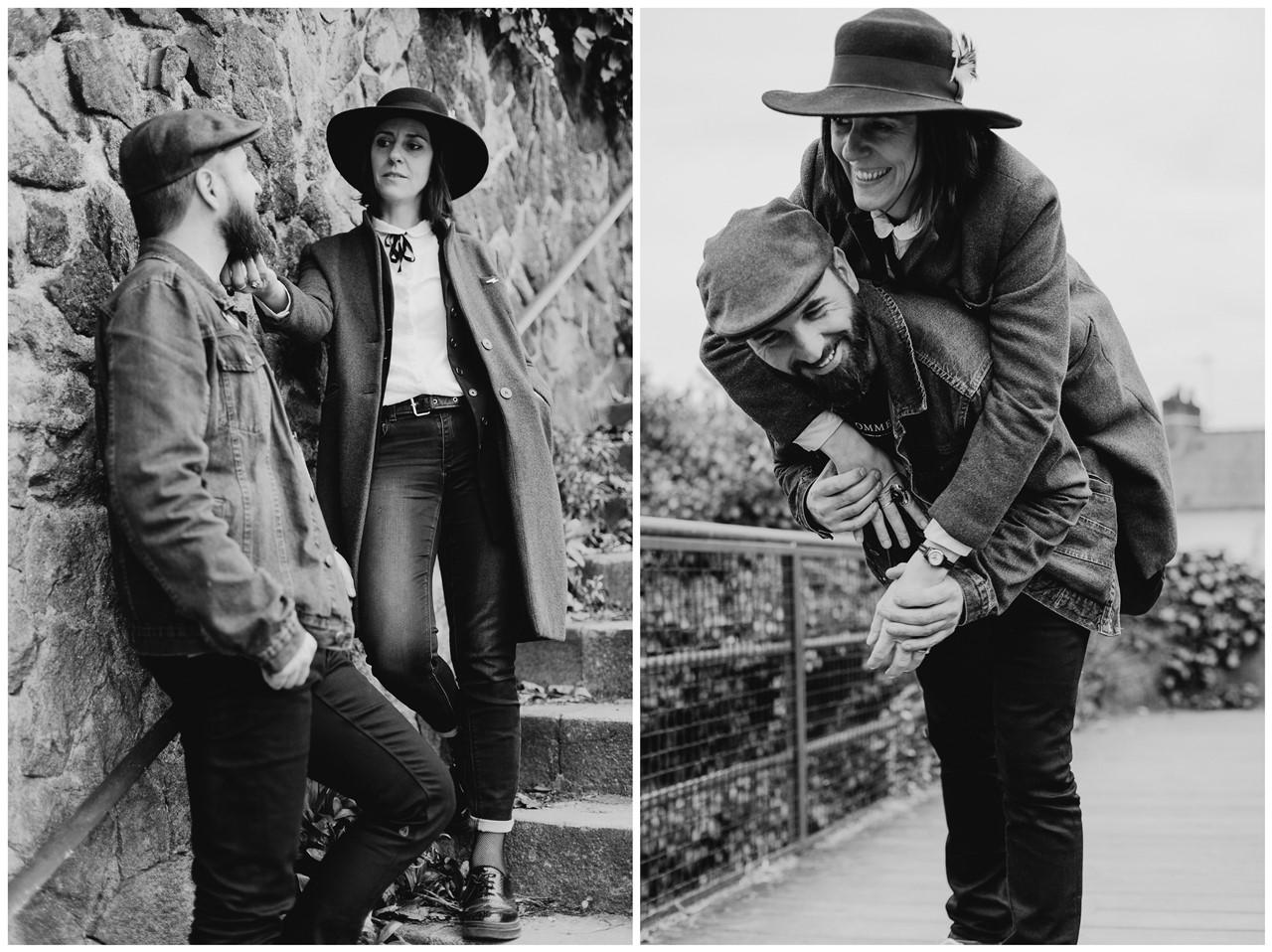 séance couple rock nantes complicité noir et blanc
