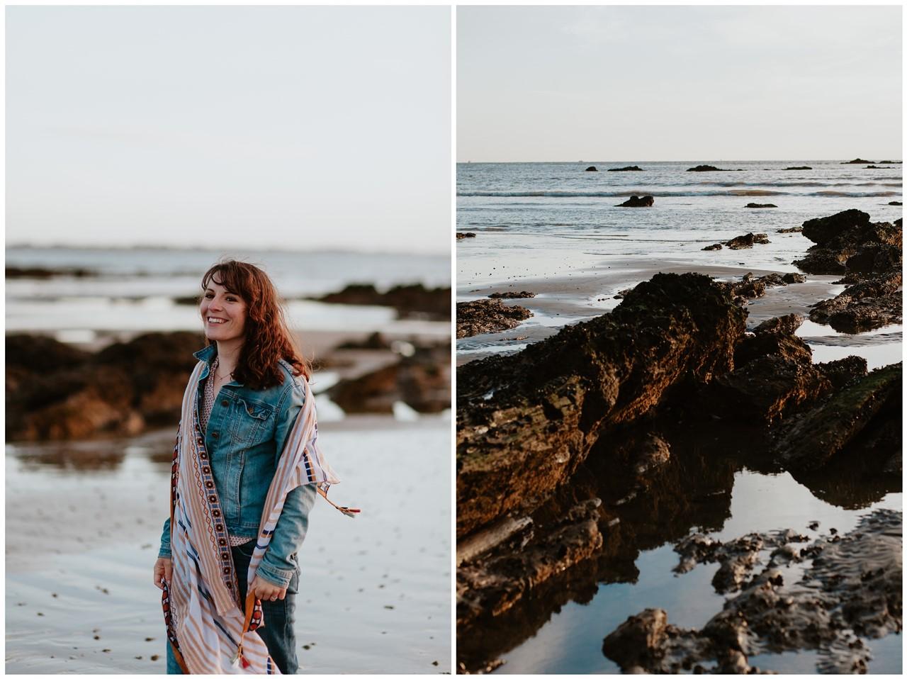 séance engagement plage mer pornic portrait femme paysage
