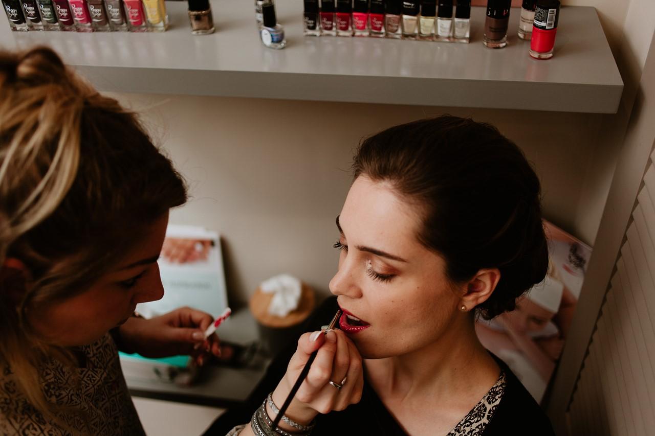mariage cholet préparation mariée rouge à lèvre