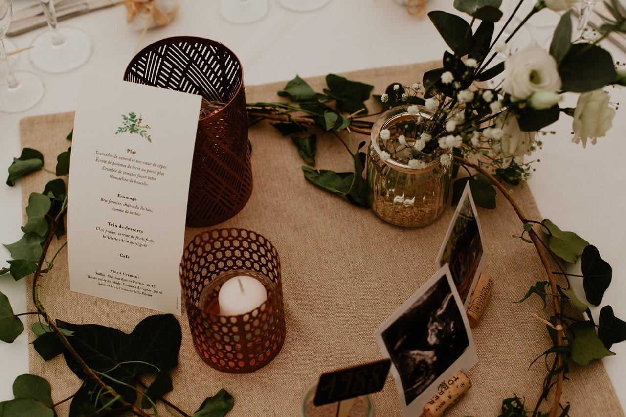 mariage angers château de la Cartrie table décoration