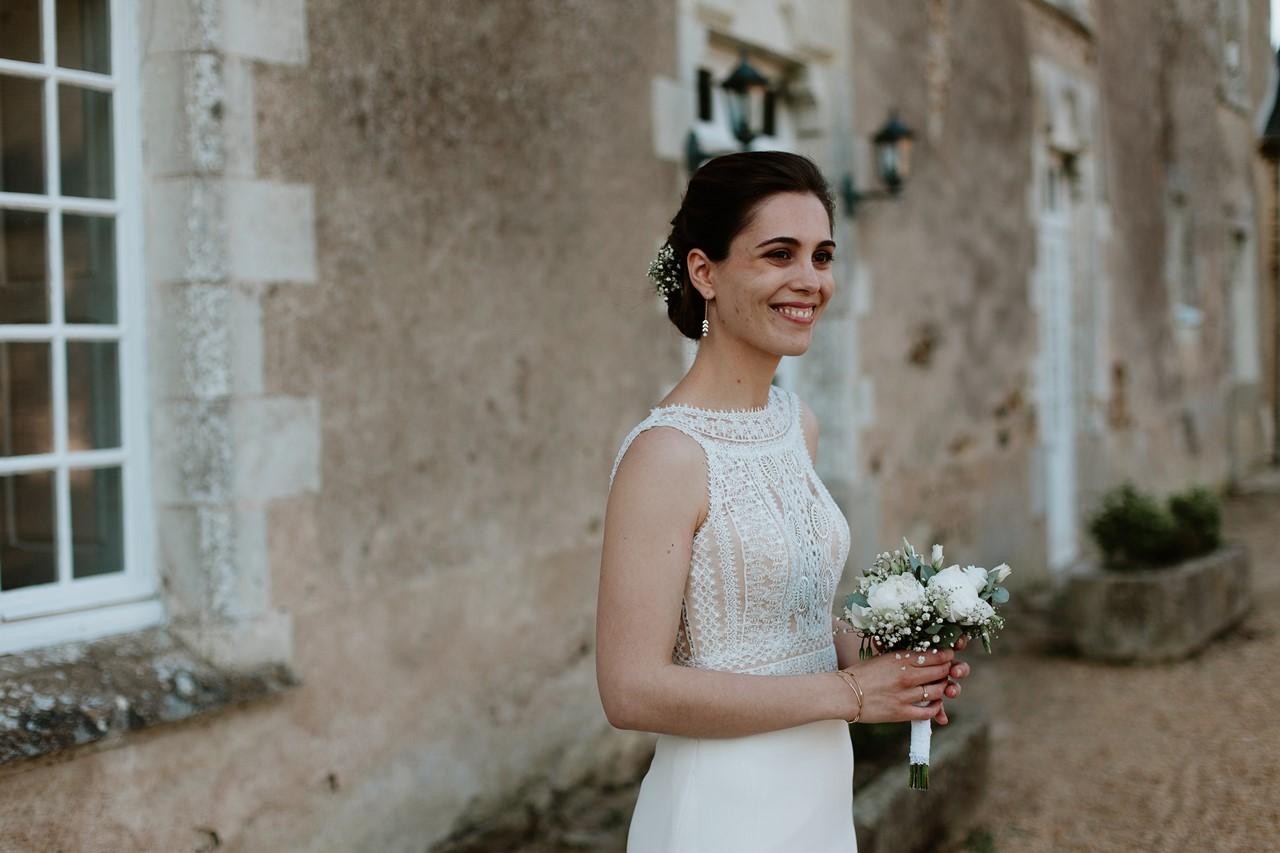 mariage angers château de la Cartrie photo couple portrait mariée
