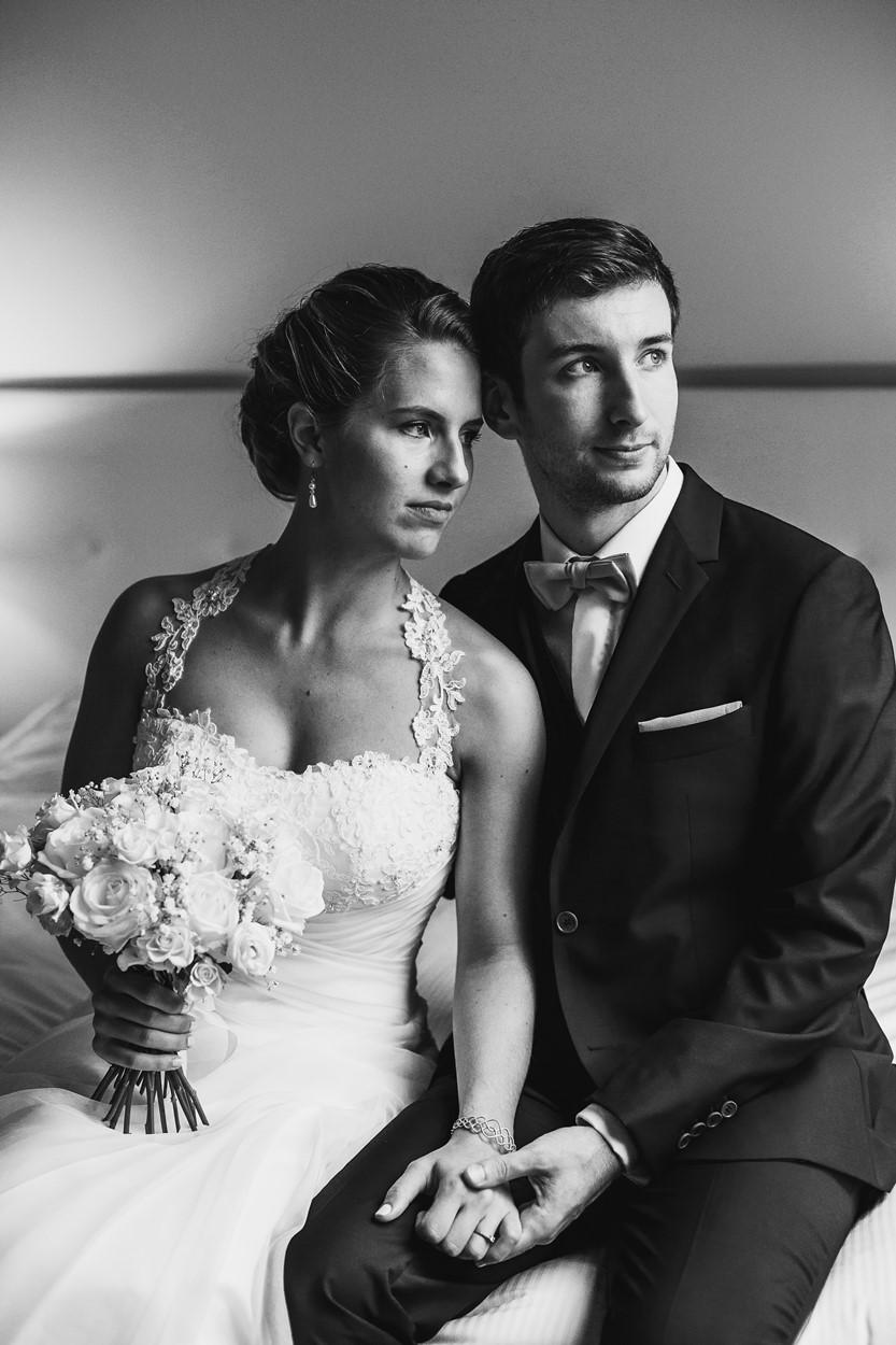 Portrait mariés noir et blanc