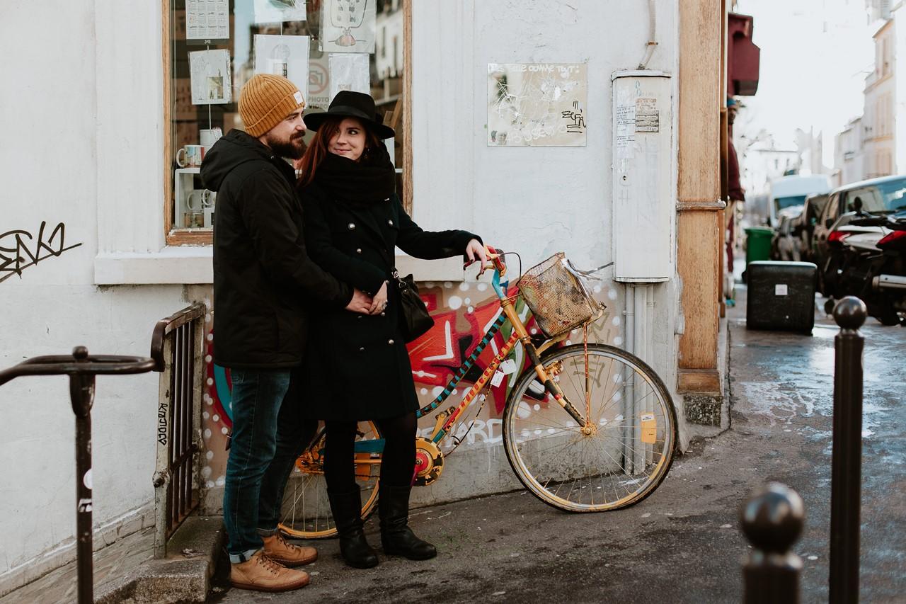 séance couple montmartre vélo couleur