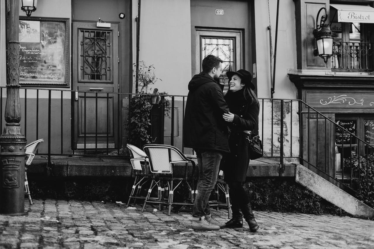 séance couple montmartre noir et blanc