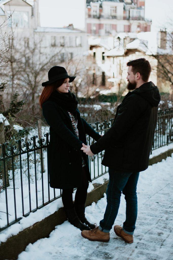 séance couple montmartre neige