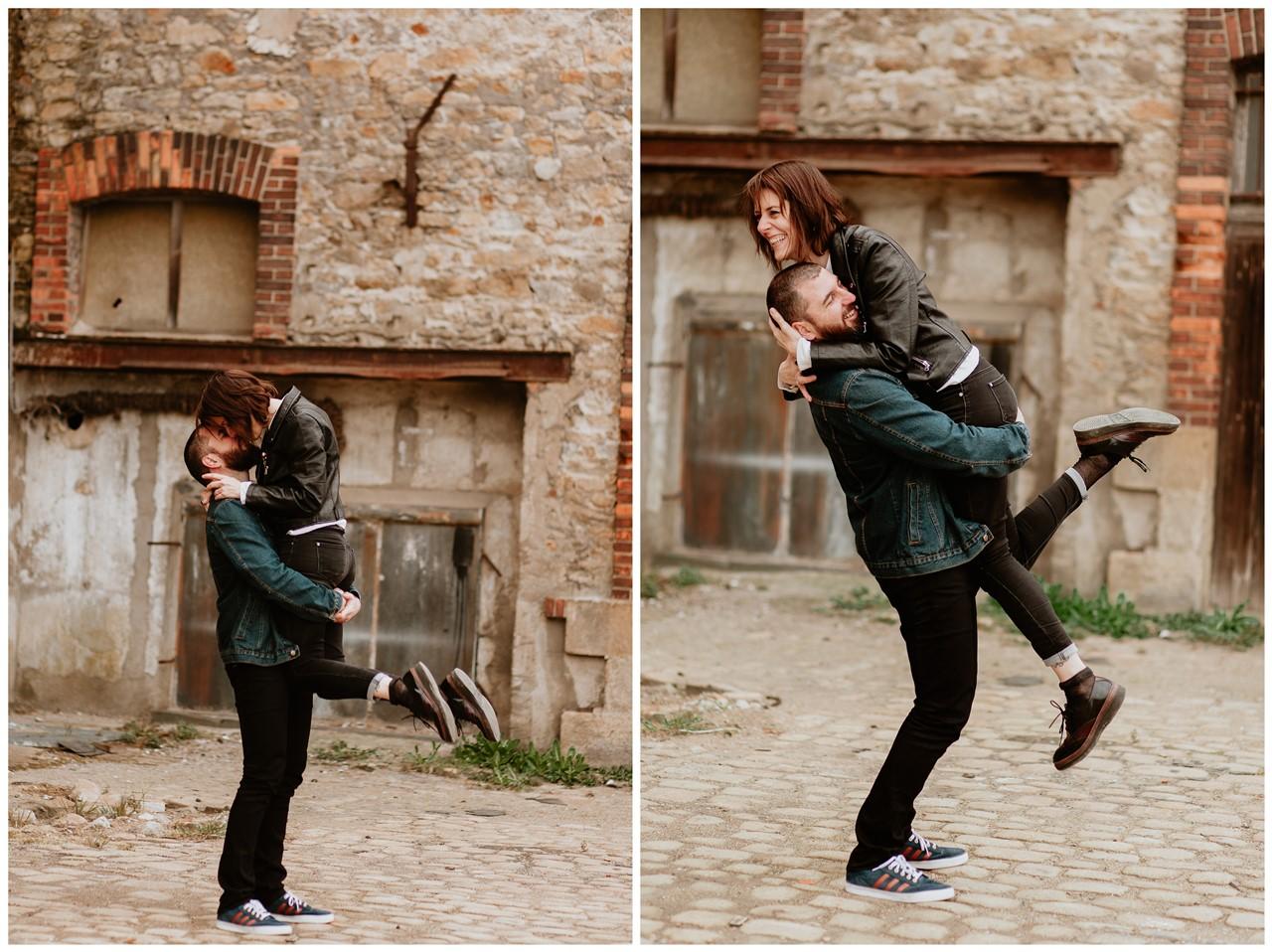 séance couple rock nantes femme bras homme bisou fun
