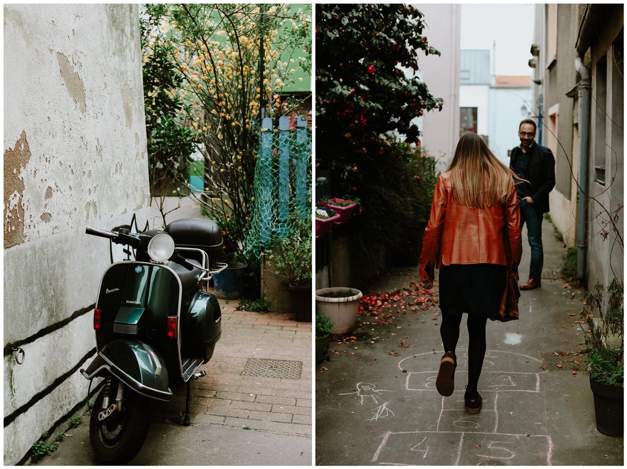 Séance engagement Trentemoult Nantes jeu couple et scooter