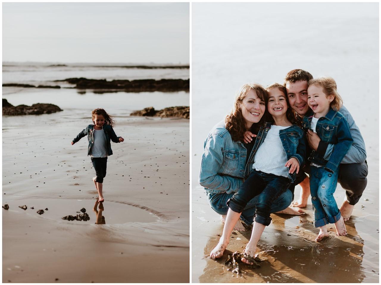 séance famille plage mer pornic portrait famille petit fille courir