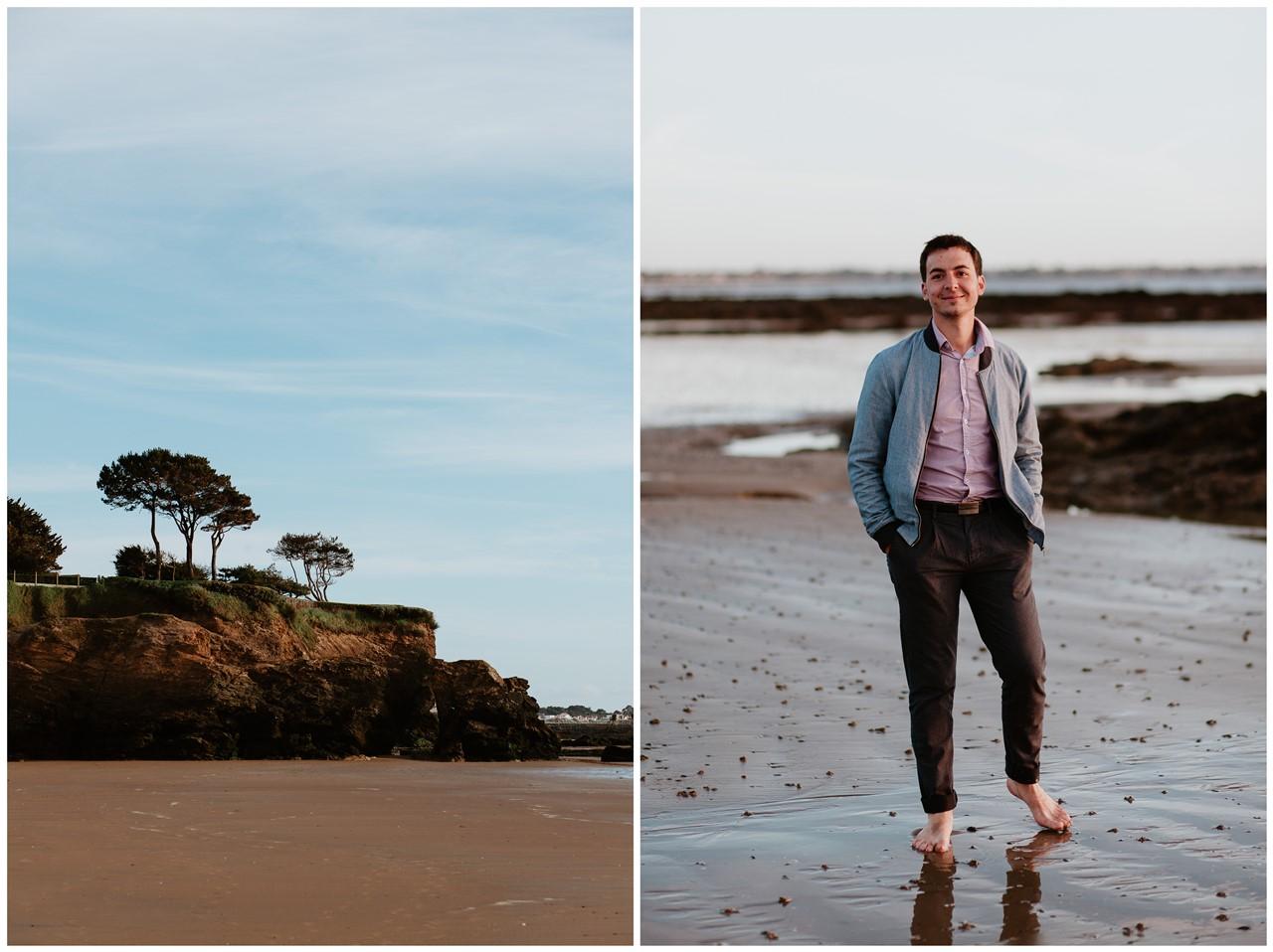 séance engagement plage mer pornic portrait homme paysage