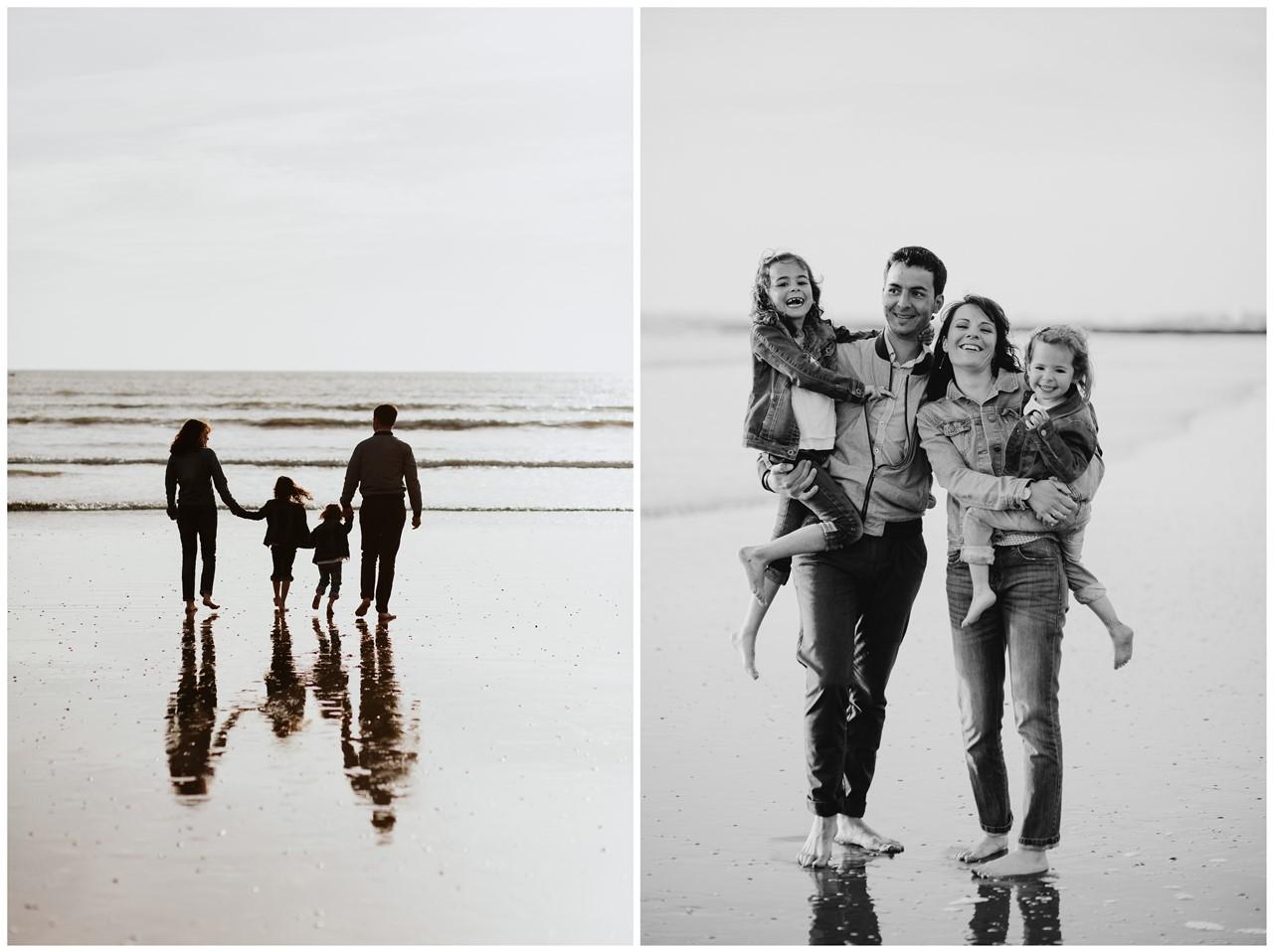 séance famille plage mer pornic portraits parents enfants contre jour