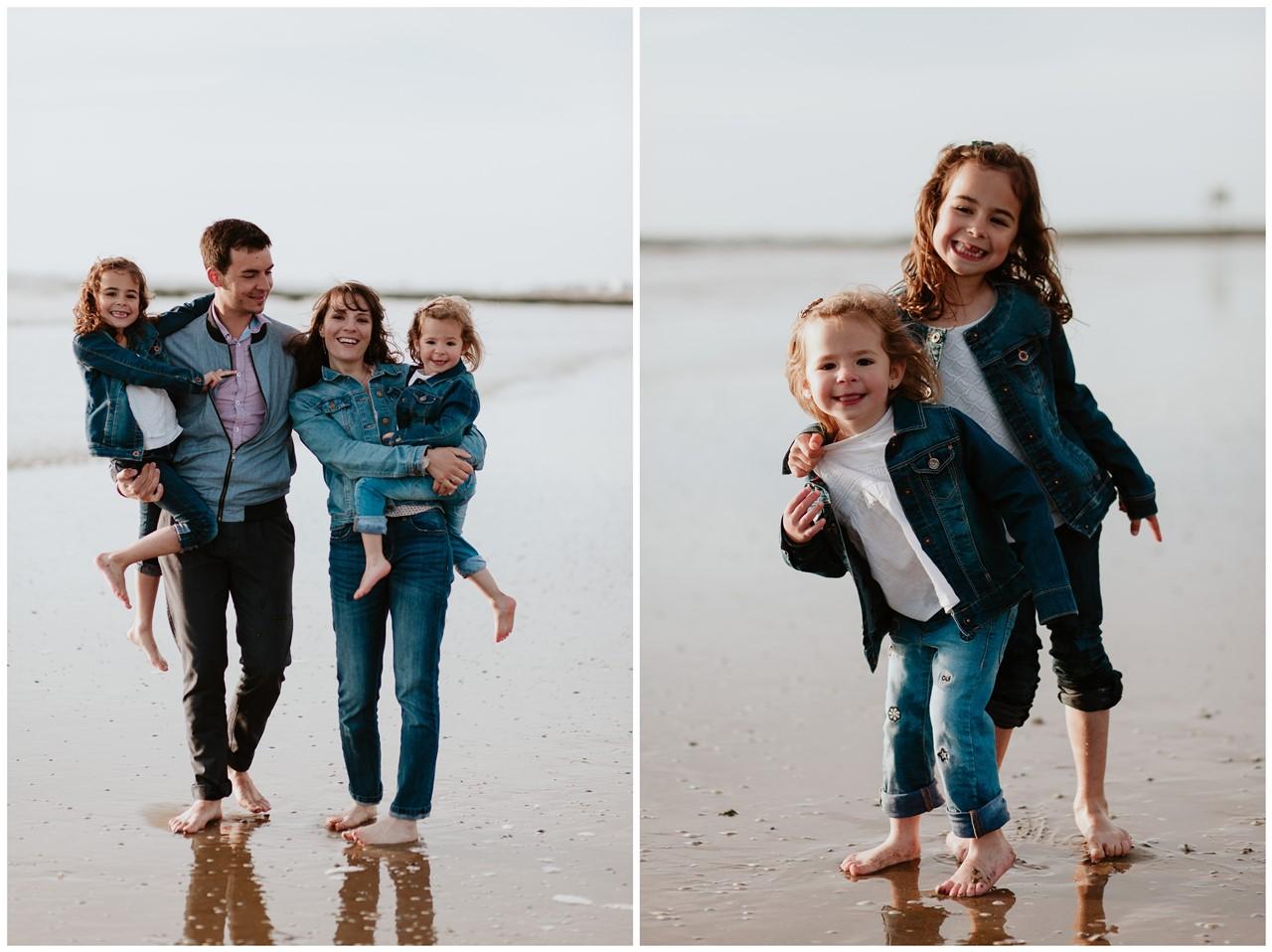 séance famille plage mer pornic marche portraits parents enfants pieds nus