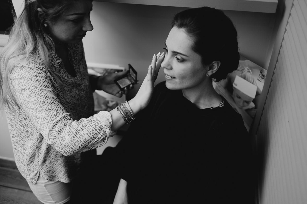 mariage cholet préparation mariée maquillage noir et blanc