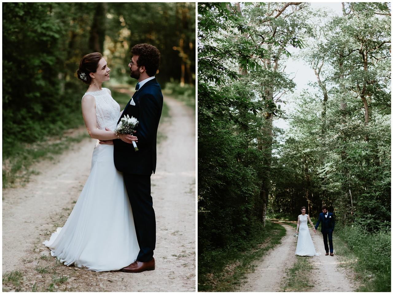 mariage angers château de la Cartrie photo couple forêt