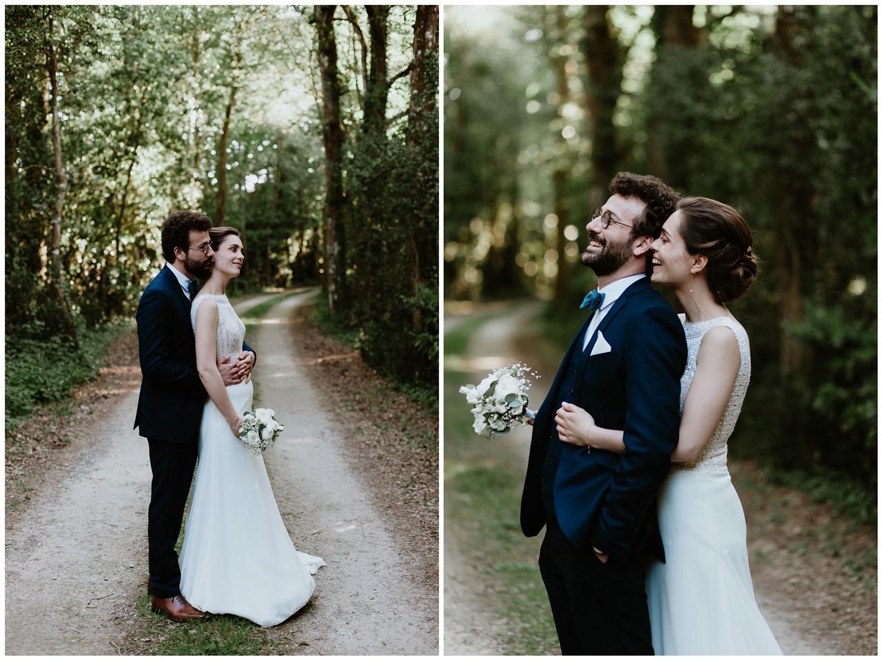 mariage angers château de la Cartrie photo couple forêt complicité