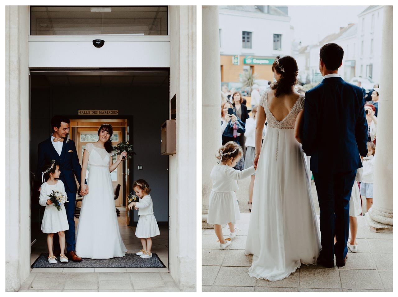 Mariage bohème nantes sortie mariés mairie