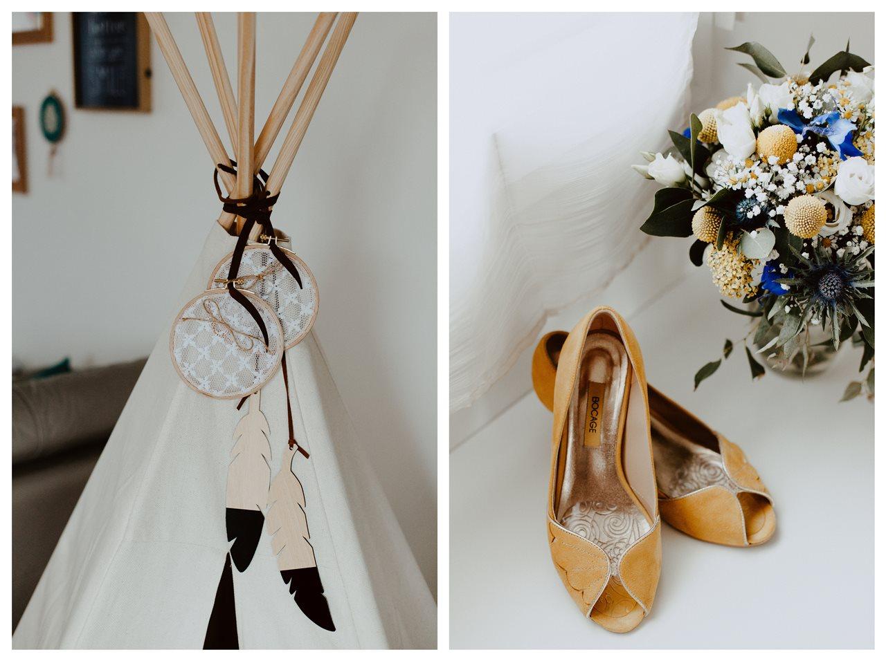 Mariage bohème nantes mariés détails alliances chaussure et bouquet mariée