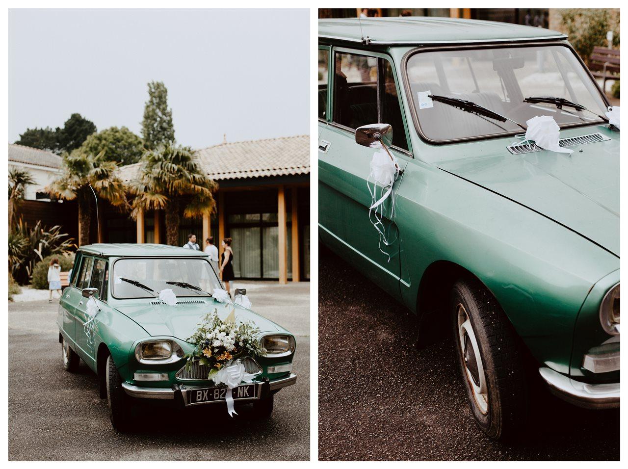 Mariage bohème nantes voiture citroën Ami 8 vert vintage