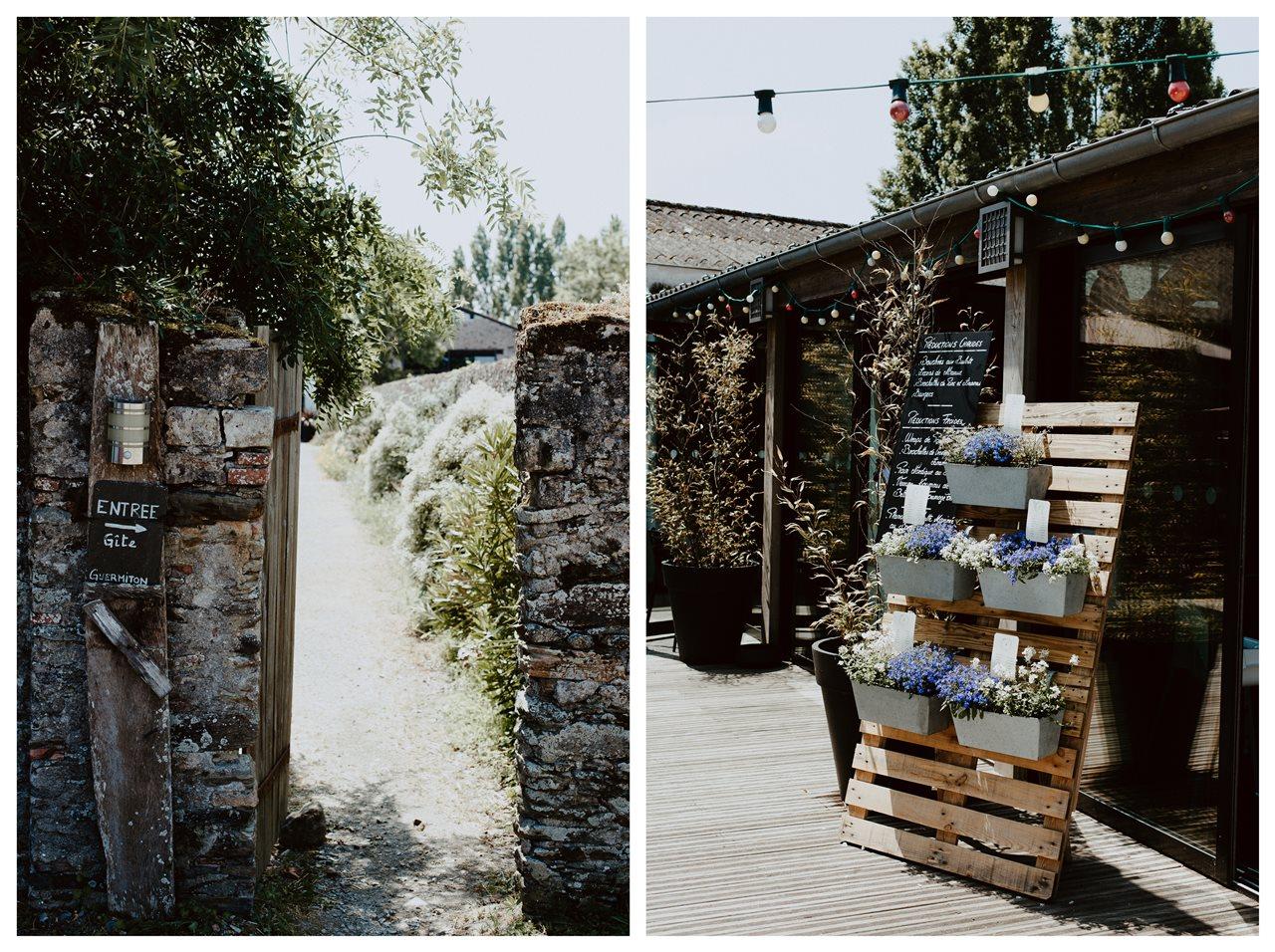 Mariage bohème guermiton entrée et terrasse
