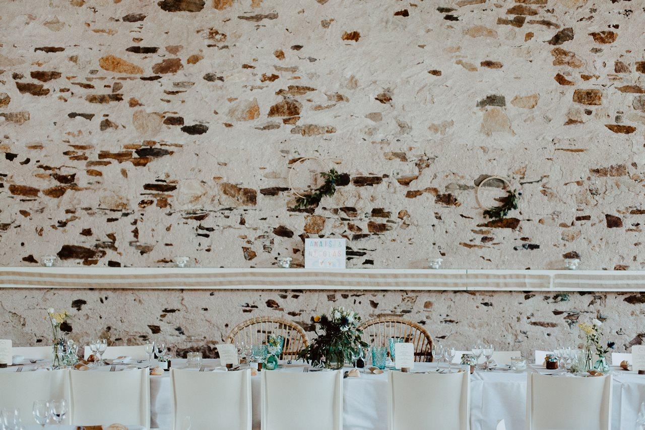 Mariage bohème guermiton table mariés