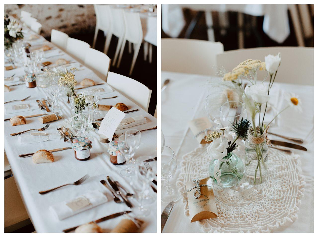 Mariage bohème guermiton table invités et fleurs champêtres