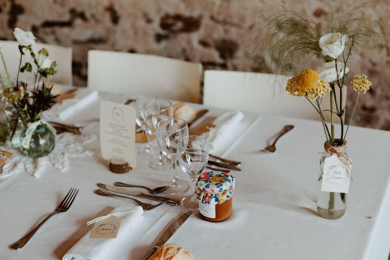 Mariage bohème guermiton table cadeau invités