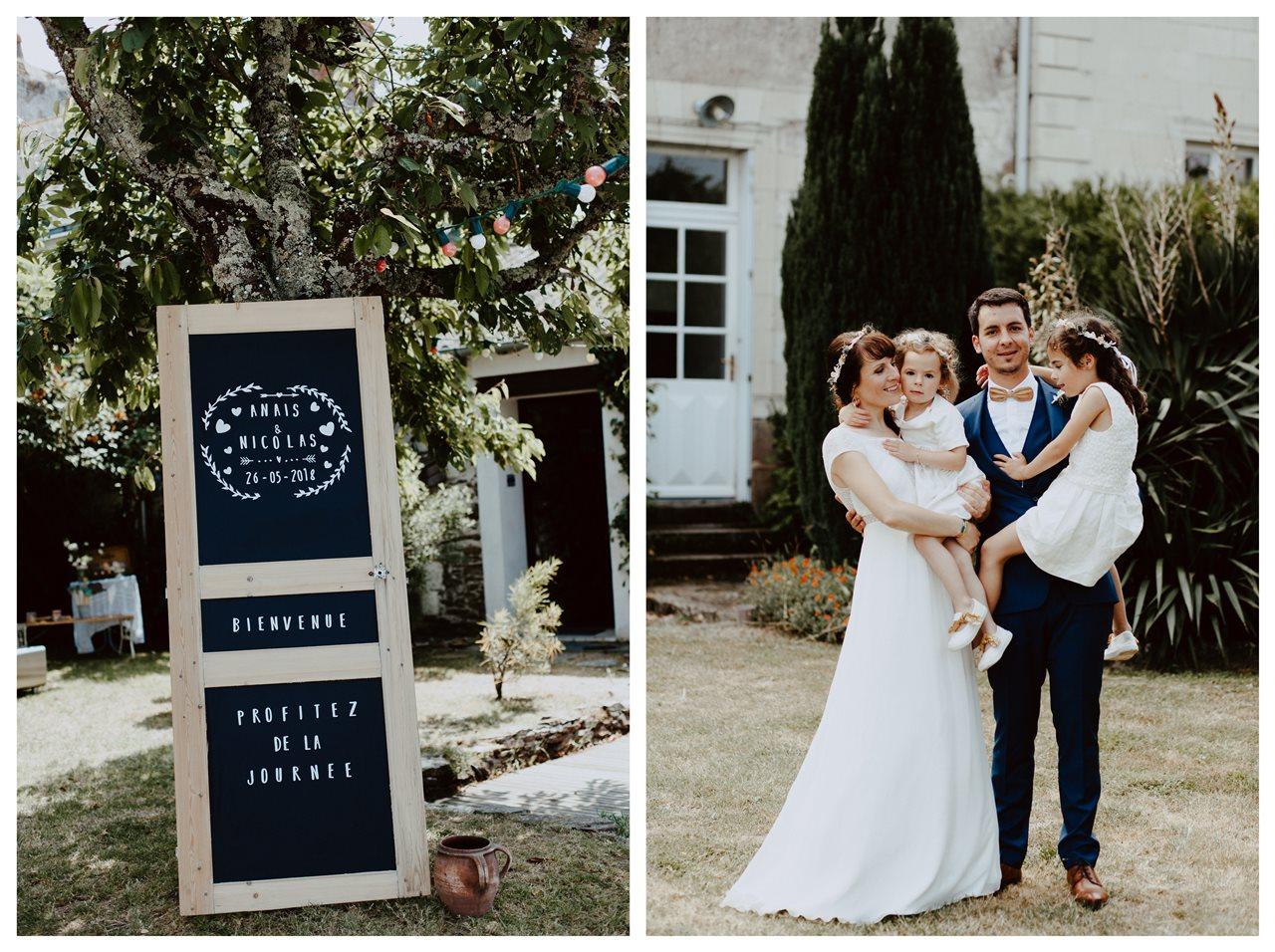 Mariage bohème guermiton panneau bienvenue portrait famille