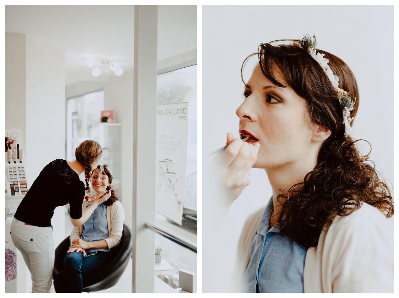 Mariage bohème nantes préparatifs mariée maquillage portrait