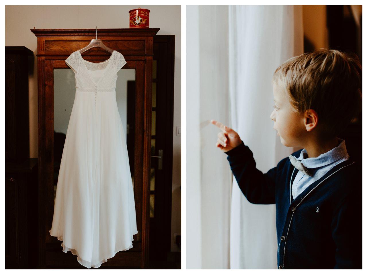 Mariage bohème nantes préparatifs robe mariée portrait enfant