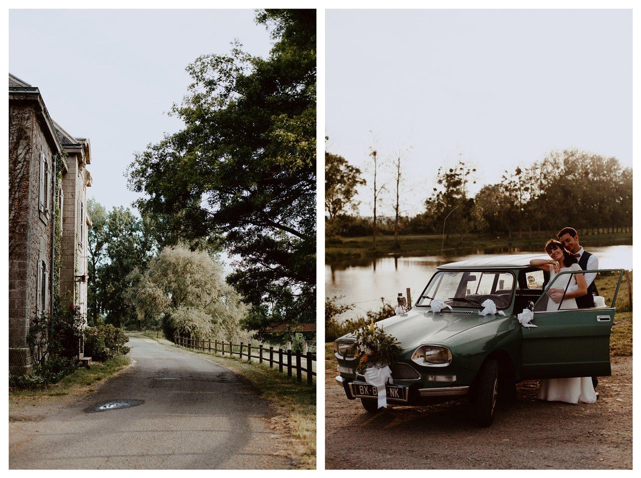 Mariage bohème séance couple canal migron paysage couple voiture Ami 8