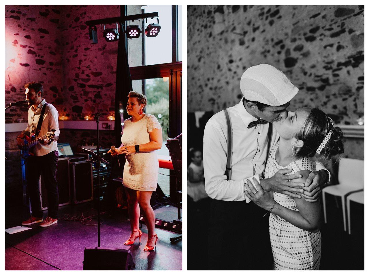 Mariage bohème guermiton bal musiciens invités noir et blanc