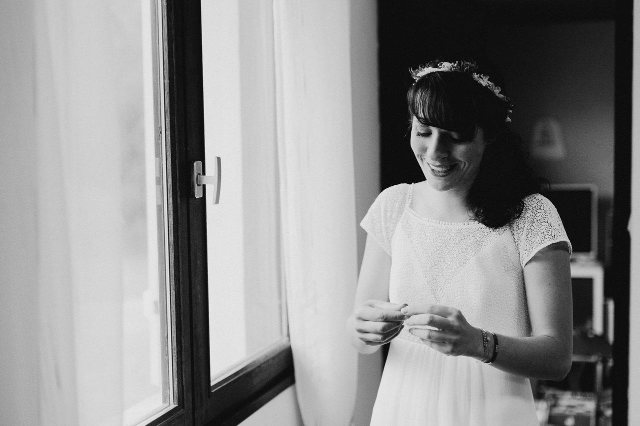 Mariage bohème nantes préparatifs mariée noir et blanc