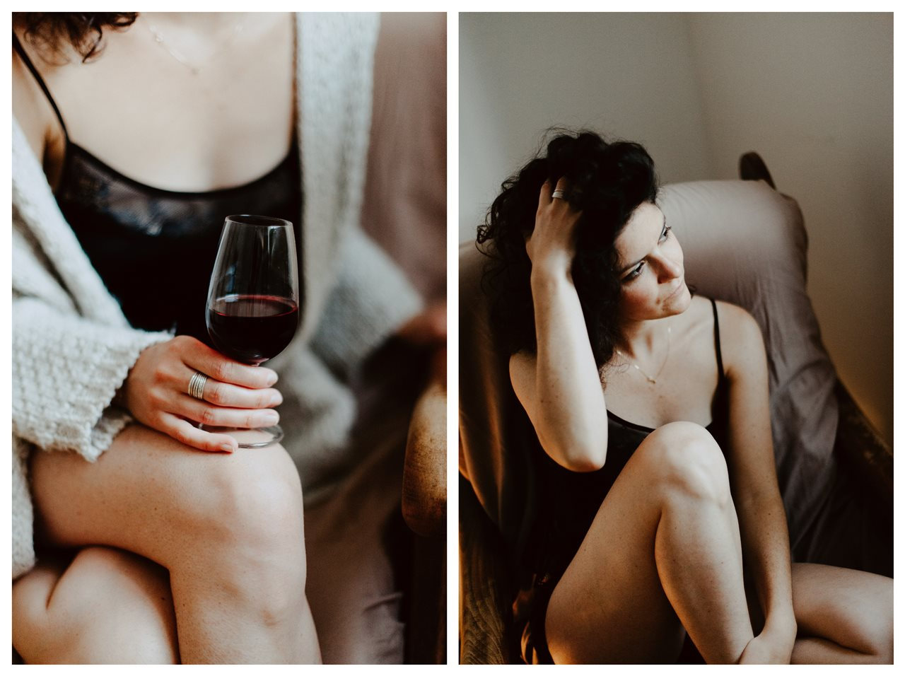 séance portrait femme intimiste cocooning verre de vin cheveux toucher