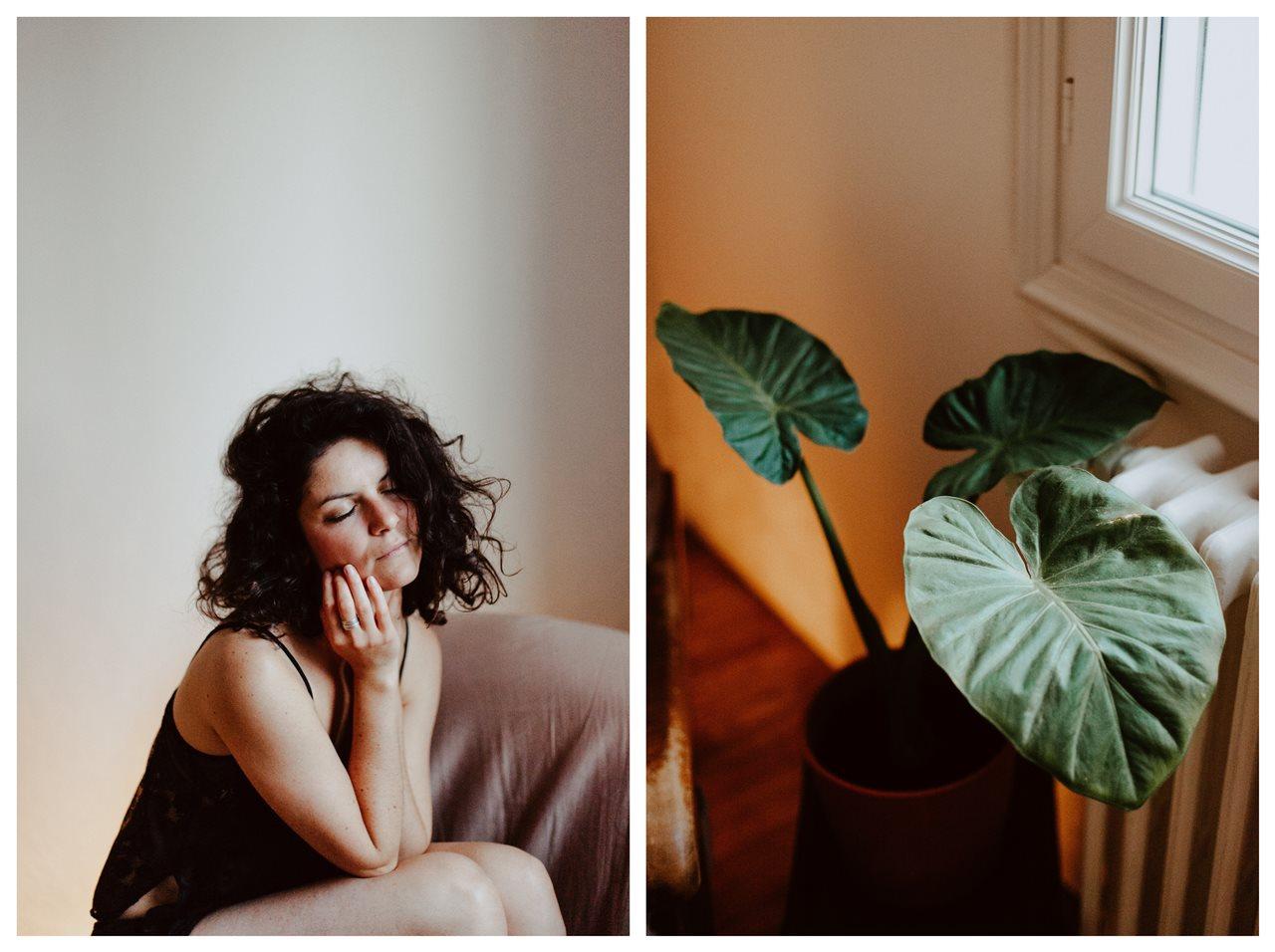 séance portrait femme intimiste cocooning ressenti plantes