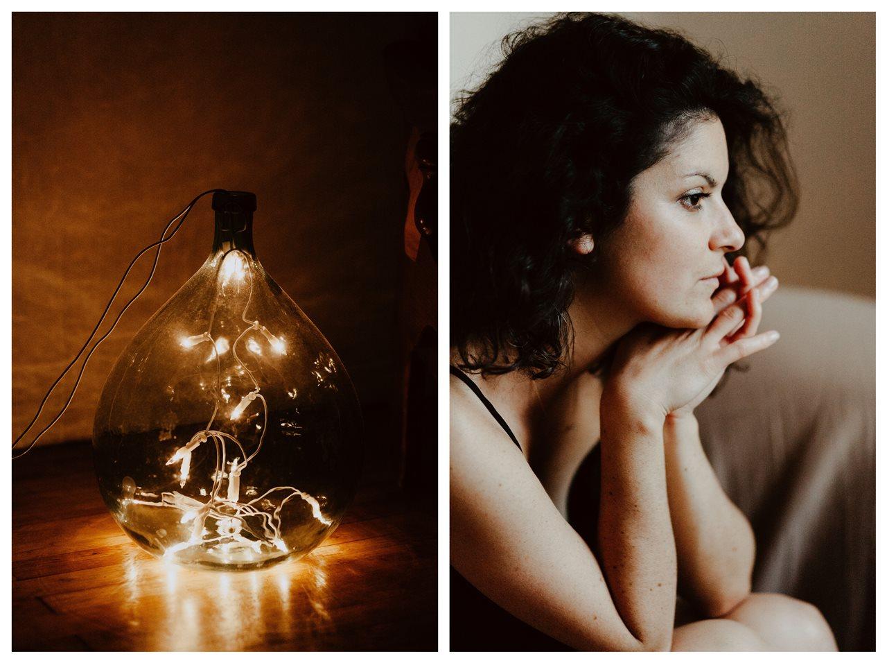 séance portrait femme intimiste cocooning visage lumière