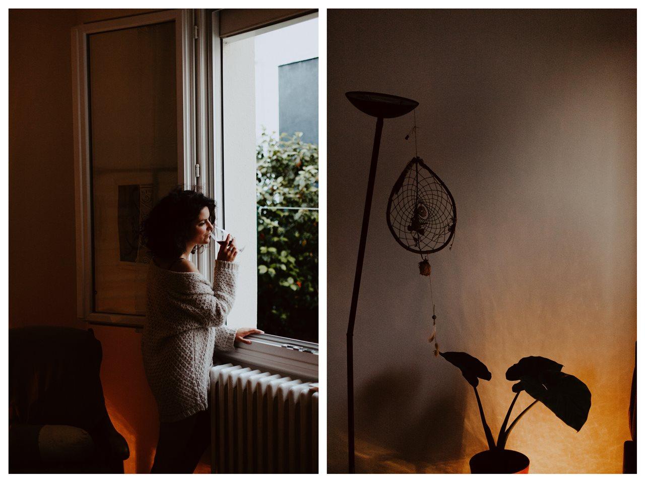 séance portrait femme intimiste vin fenêtre détails ambiance