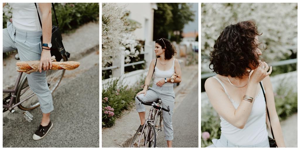 séance portrait lifestyle extérieur bicyclette baguette cheveux vent