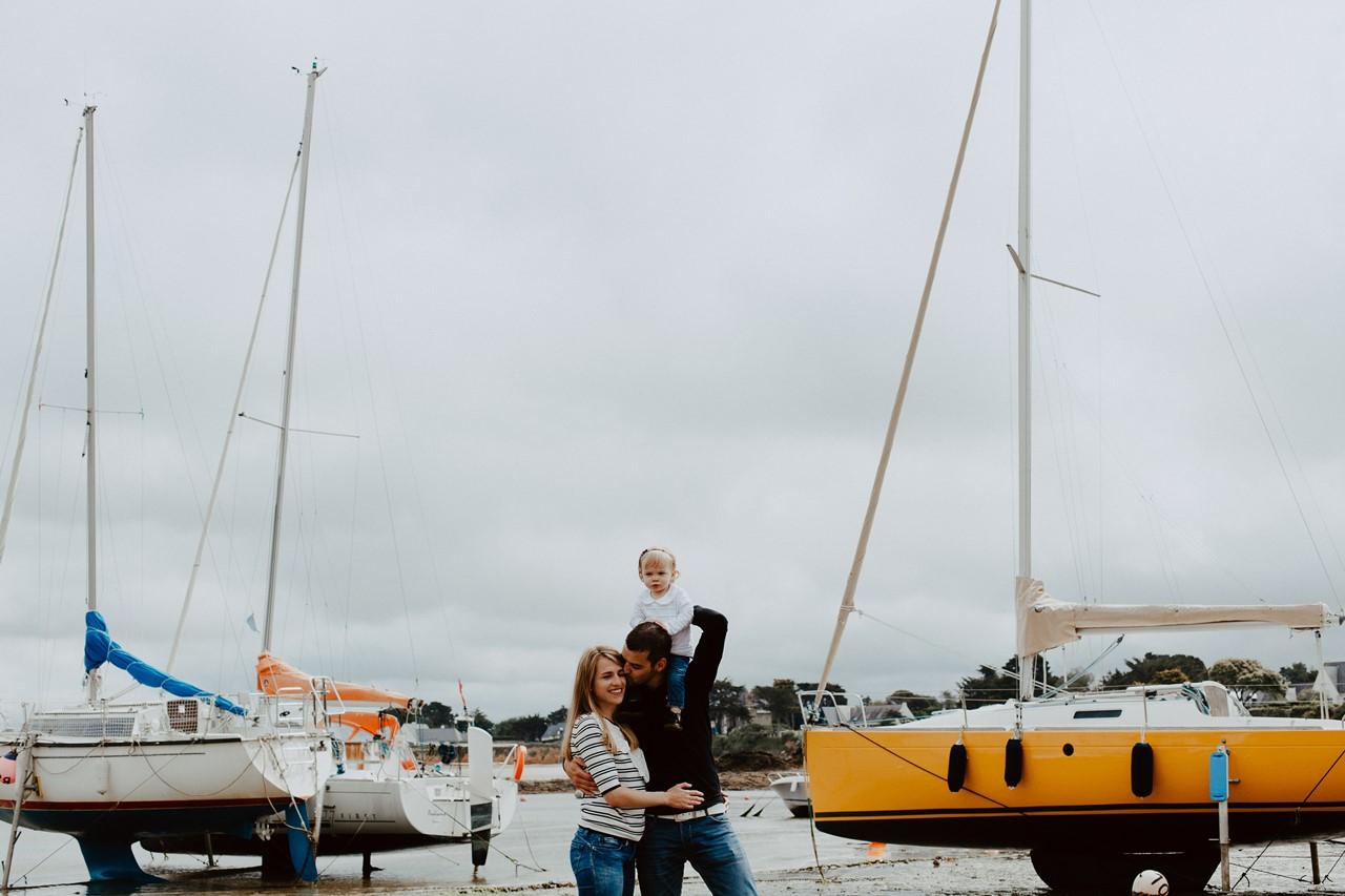séance famille lifestyle mesquer plage portrait famille bateaux