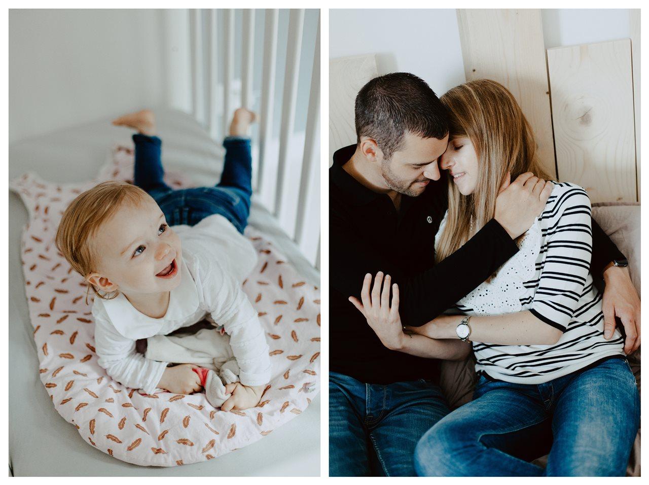 séance famille lifestyle maison calin parents enfant lit