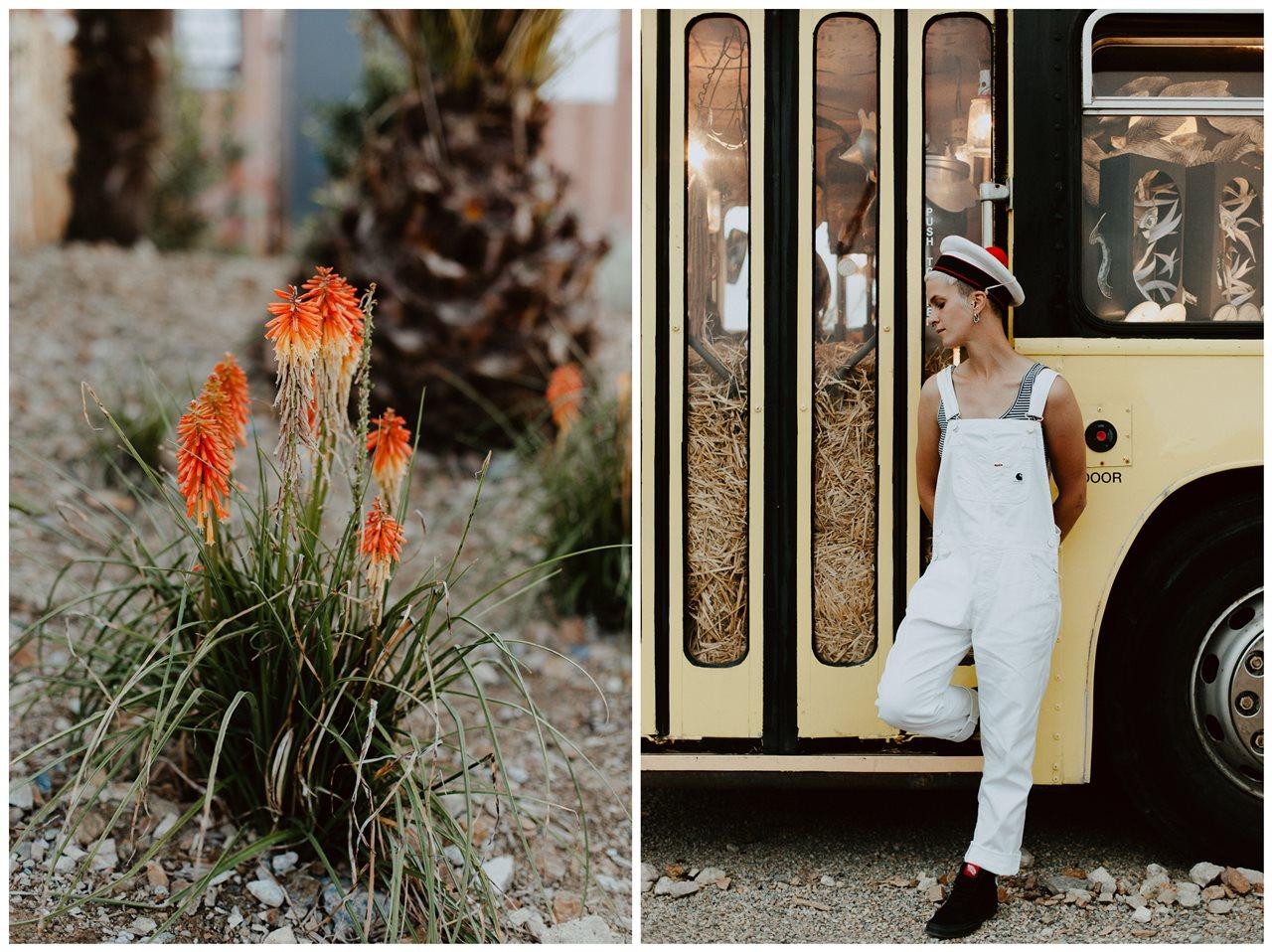 seance couple Nantes Transfert portrait femme chapeau marin salopette blanche et plante