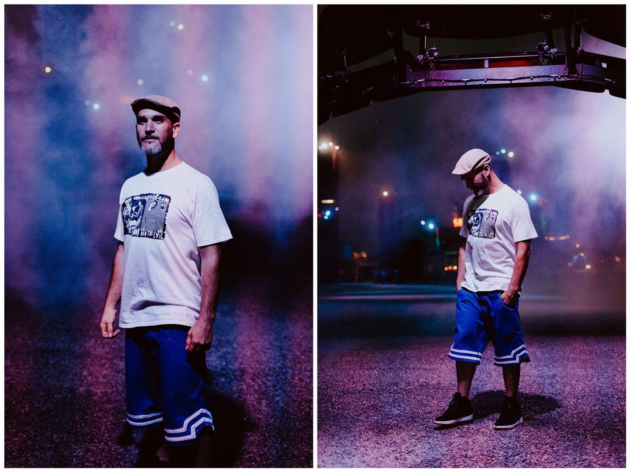 seance couple Nantes Transfert portrait homme brume lumière bleu lignes violette