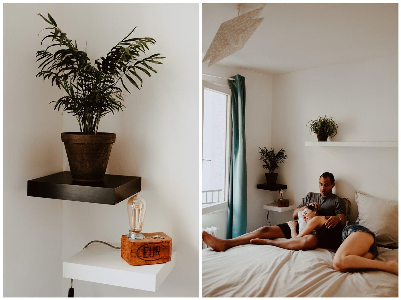 seance-couple-intimiste-maison-chambre-calin-lit-détails-plante-lampe