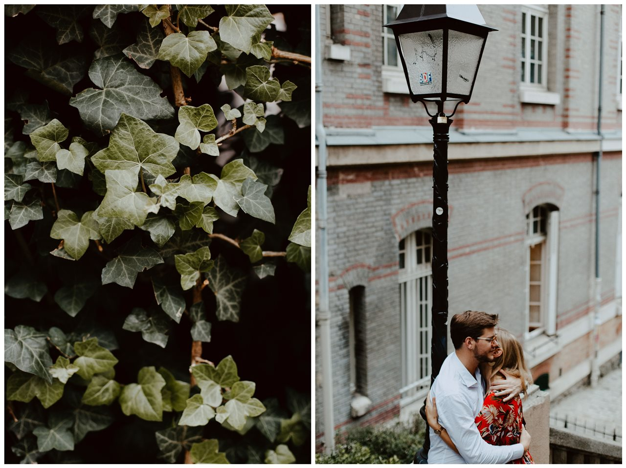 seance engagement paris montmartre couple calin lampadaire détail feuilles