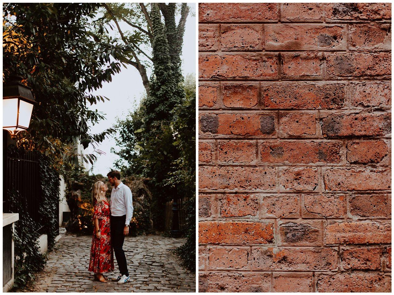 seance engagement paris montmartre couple regards rue végétale détail mur brique
