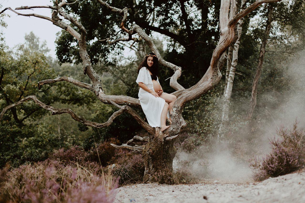 seance-maternité-nature-femme-enceinte-arbre-fumée