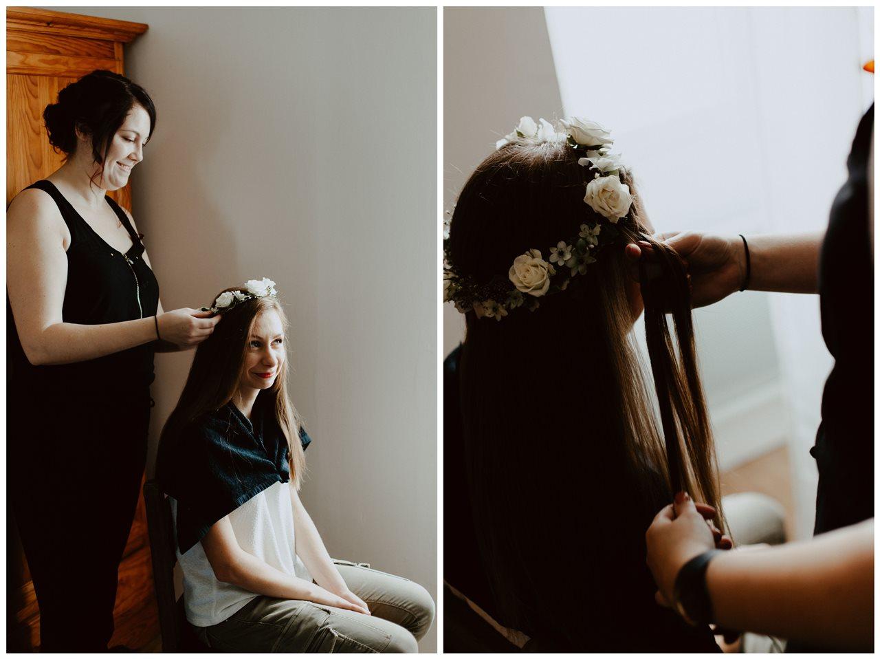 Photographie mariage préparation mariée coiffure
