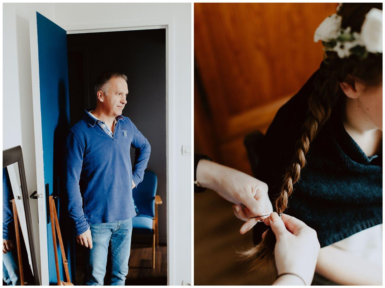 Photographie mariage préparation de la mariée portrait père et détail coiffure