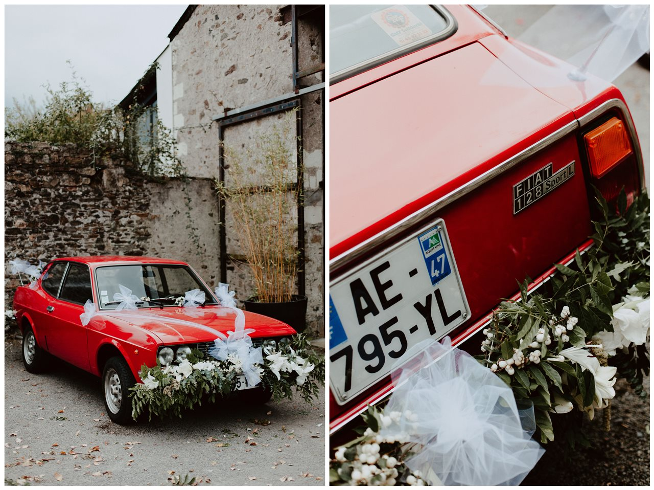 Photographie mariage ancienne voiture fiat rouge